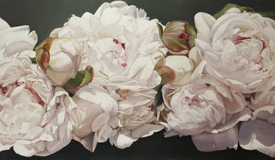 Floral Painting - Pink White Peonies Oil Painting by Thomas Darnell