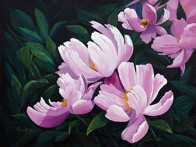 Painting - Pink Windflower Peonies by Karen Mattson
