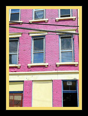Art Print featuring the photograph Pink Yellow Blue Building by Kathy Barney