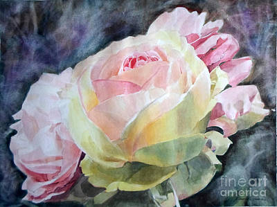Painting - Pink Yellow Rose Angela by Greta Corens