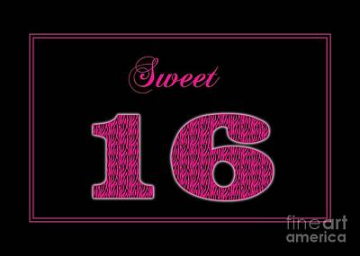 Digital Art - Pink Zebra Sweet 16 by JH Designs