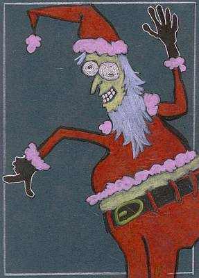 Drawing - Pink Zombie Santa by Ralf Schulze