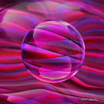 Crystal Digital Art - Pinking Sphere by Robin Moline