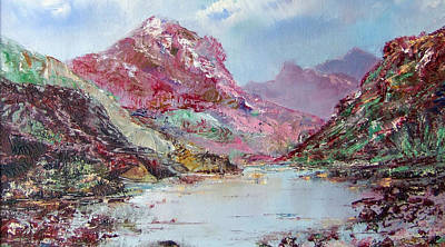 Painting - Pinklit Mountain And Loch by Richard James Digance