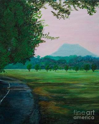 Pinnacle Mountain At Sunset From Two Rivers Park Art Print by Amber Woodrum