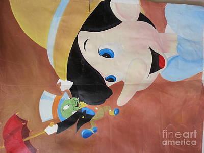 Painting - Pinnochio And Jimney Cricket by Calvin Jefferson