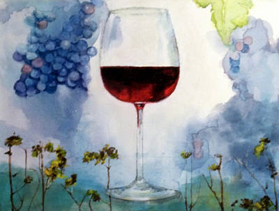 Stemware Painting - Pinot From Vine To Glass II by Susan Richardson-Kaumans
