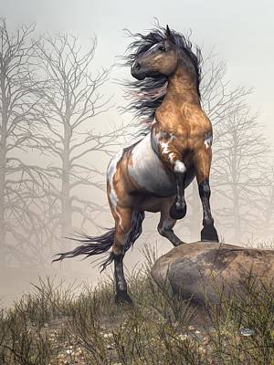 Wild Horse Digital Art - Pinto by Daniel Eskridge