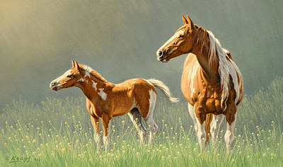 Pinto Mare And Colt Art Print by Paul Krapf