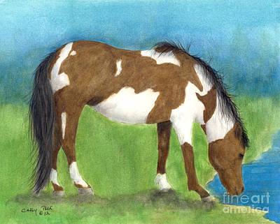 Pinto Mustang Horse Mare Farm Ranch Animal Art Art Print by Cathy Peek