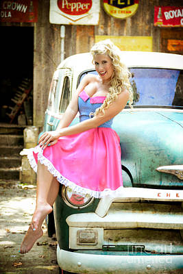 Pinup Girl With Classic Truck Art Print by Jt PhotoDesign