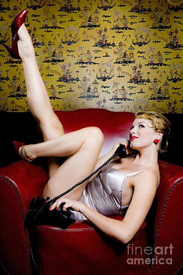 Pinup Girl With Phone Art Print by Diane Diederich