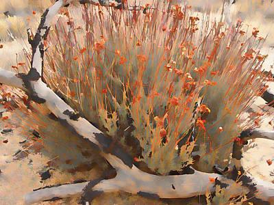 Pinion Digital Art - Pinyon Hugging Daisies by Scott Campbell
