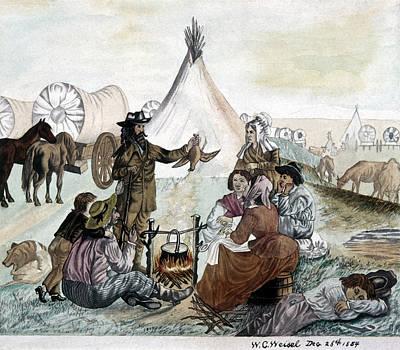 Pioneer Woman Painting - Pioneer Camp, 1854 by Granger