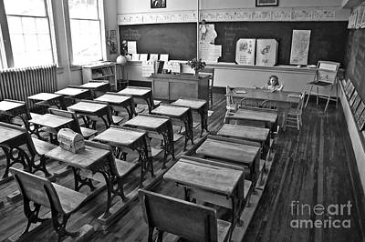 Photograph - Pioneer Classroom Black And White by Valerie Garner