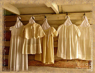 Log Cabin Art Photograph - Pioneer Days-child's Dresses by Marilyn Smith