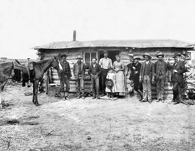 Log Cabins Photograph - Pioneer Family Portrait by Underwood Archives