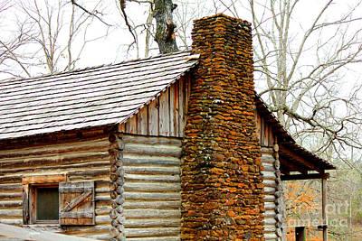 Pioneer Log Cabin Chimney Art Print by Kathy  White