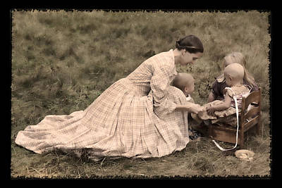Photograph - Pioneer Mother And Children by Wes and Dotty Weber
