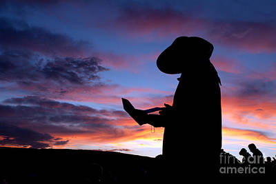 Pioneer Silhouette Reading Letter Art Print by Cindy Singleton