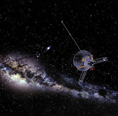 Pioneer Spacecraft In Interstellar Space Art Print by Nasa