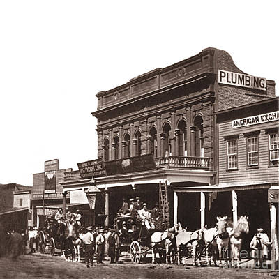 Photograph - Pioneer Stages Leaving Wells Fargo And Co's C Street Virginia City 1866 by California Views Mr Pat Hathaway Archives