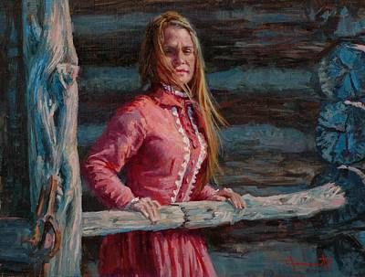 Pioneer Woman Painting - Pioneer Woman by Jim Clements