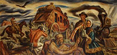 Kansas Oil Painting - Pioneers In Kansas by Mountain Dreams