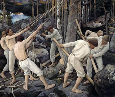Pekka Wall Art - Painting - Pioneers In Karelia by Pekka Halonen