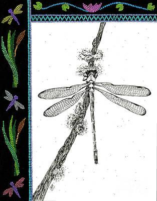 Abenaki Wall Art - Drawing - Pipe Fly by Christine Matha