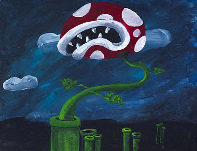Piranha Painting - Pipe Piranha by Drew Rowe