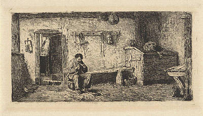 Water Jug Drawing - Pipe Smoking Man In A Barn, Hendrik Jacobus Scholten by Hendrik Jacobus Scholten