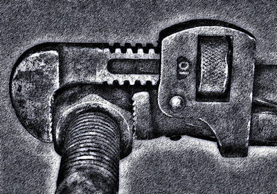 Pipe Wrench Art Print by Bob RL Evans