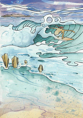 Surfing Art Painting - Pipeline by Harry Holiday