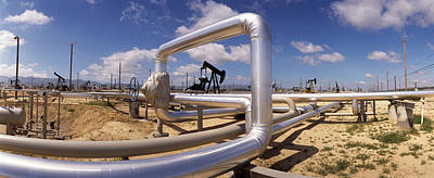 Oil Pump Photograph - Pipelines On A Landscape, Taft, Kern by Panoramic Images