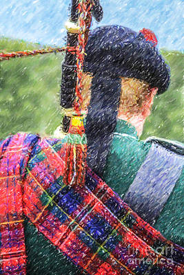 Digital Art - Piper In Red Macpherson Tartan by Liz Leyden