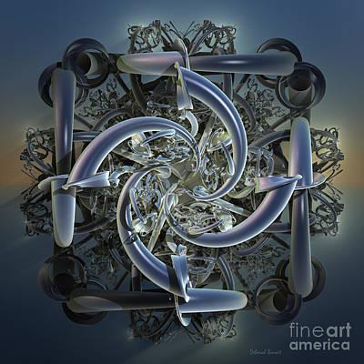 Generative Mixed Media - Pipes In Blue by Deborah Benoit