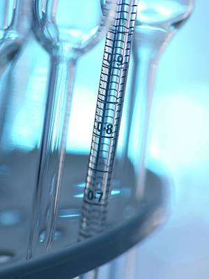 Pipette And Laboratory Glassware Art Print by Tek Image