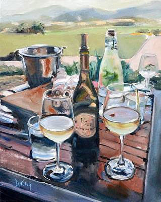 Wine Bottle Painting - Pippin Hill Picnic by Donna Tuten