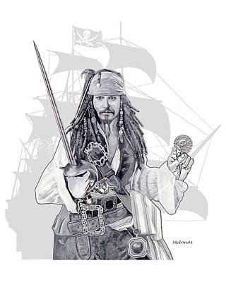 Johnny Depp Drawing - Piracy On The High Sea by Peter Melonas