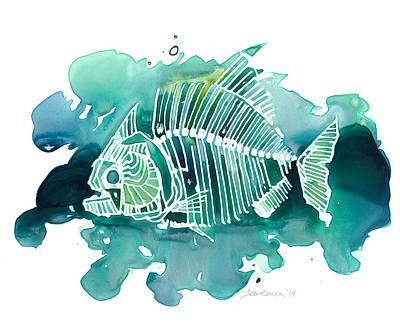 Piranha Painting - Piranha by Mike Lawrence