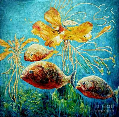 Piranha Painting - Piranhas by Liliya Chernaya
