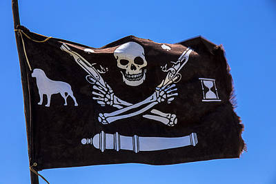 Crosses Photograph - Pirate Flag With Skull And Pistols by Garry Gay