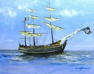 Blackbeard Painting - Pirate by Howard Stroman