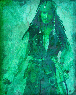 Digital Art - Pirate Johnny Depp - Shades Of Caribbean Green by Absinthe Art By Michelle LeAnn Scott
