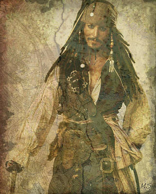 Digital Art - Pirate Johnny Depp - Steampunk by Absinthe Art By Michelle LeAnn Scott