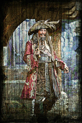 Digital Art - Pirate Keith Richards - Steampunk by Absinthe Art By Michelle LeAnn Scott
