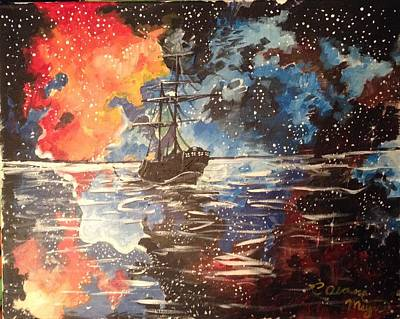 Pirate Ship Painting - Pirate On Still Water by Alana Meyers