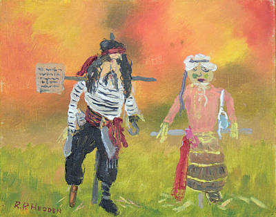 Nature Center Painting - Pirate Scarecrow At October Fest by Robert P Hedden
