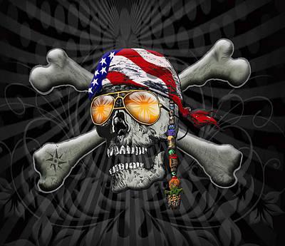 Sculling Digital Art - Pirate Scull And Cross Bones by Doug LaRue